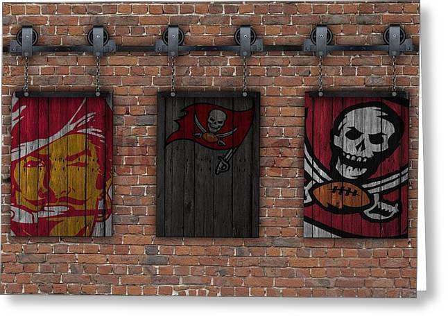 Tampa Bay Buccaneers Brick Wall Greeting Card