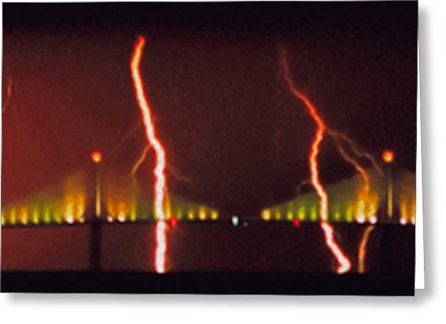 Tampa Bay Lightning Over The Skyway Bridge Greeting Card