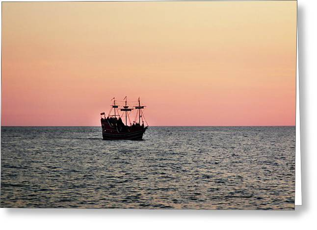 Tampa Bay Sunset 4 Pirate Ship Greeting Card by Marilyn Hunt