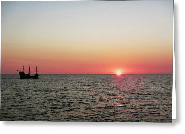 Tampa Bay Sunset 5 Pirate Ship Greeting Card by Marilyn Hunt