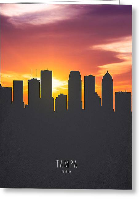Tampa Florida Sunset Skyline 01 Greeting Card by Aged Pixel