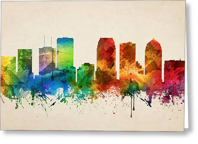Tampa Florida Skyline 05 Greeting Card by Aged Pixel