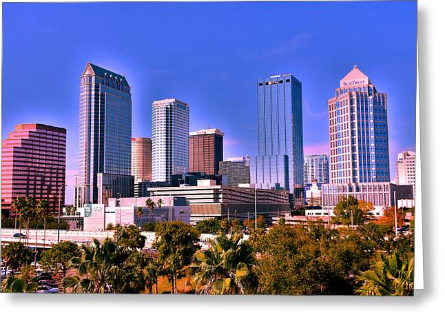 Tampa Florida Skyline Greeting Card by Lisa Wooten