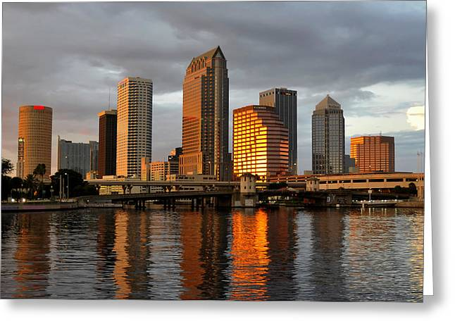 Tampa Bay Greeting Cards - Tampa in reflection Greeting Card by David Lee Thompson