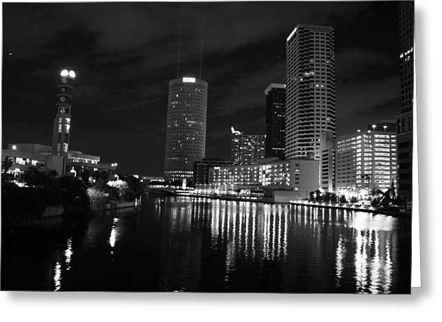 Tampa Skyline West Night Black And White Greeting Card by Larry Underwood