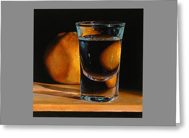 Tangerine And Shotglass Greeting Card by Jeffrey Hayes