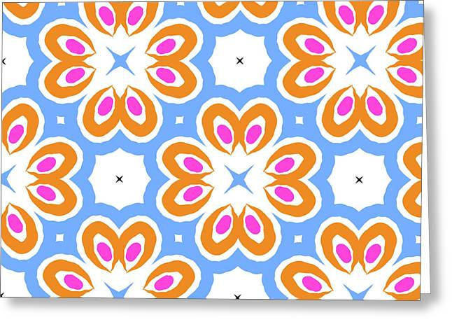 Tangerine And Sky Floral Pattern- Art By Linda Woods Greeting Card by Linda Woods