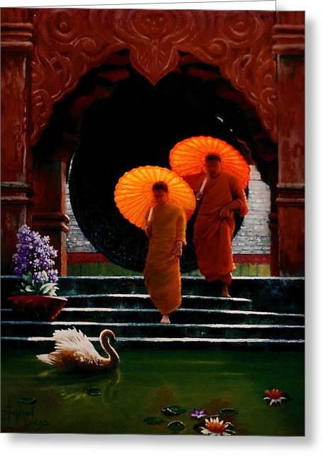 Tangerine Parasols Greeting Card by Stephen Lucas
