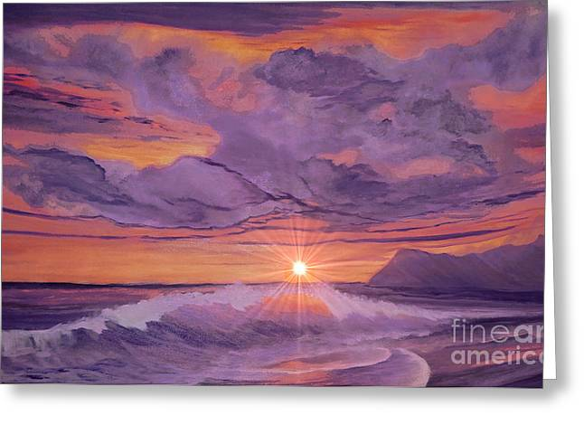 Tangerine Sky Greeting Card by Holly Martinson