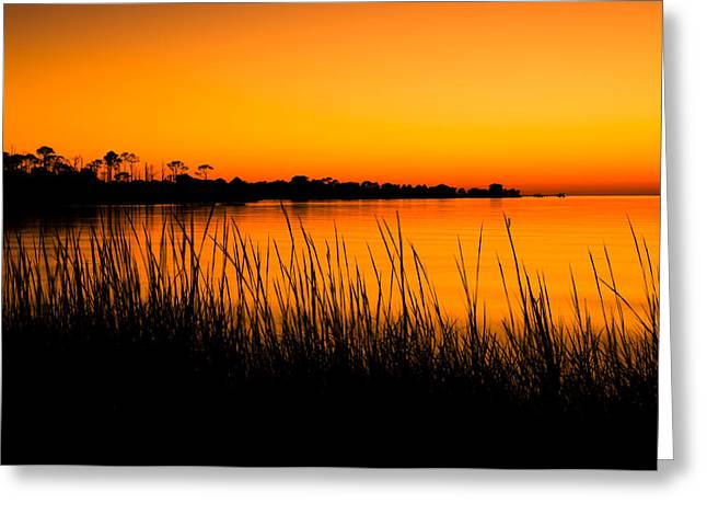 Tangerine Sunset Greeting Card by Rich Leighton