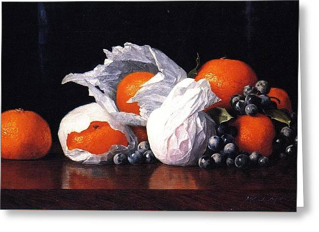 Tangerines In Tissues With Grapes Greeting Card