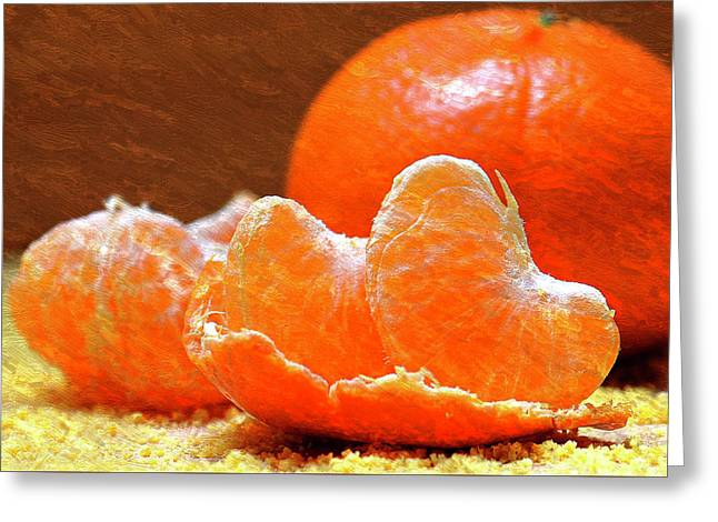 Tangerines Orange Oil Painting Greeting Card by Design Turnpike