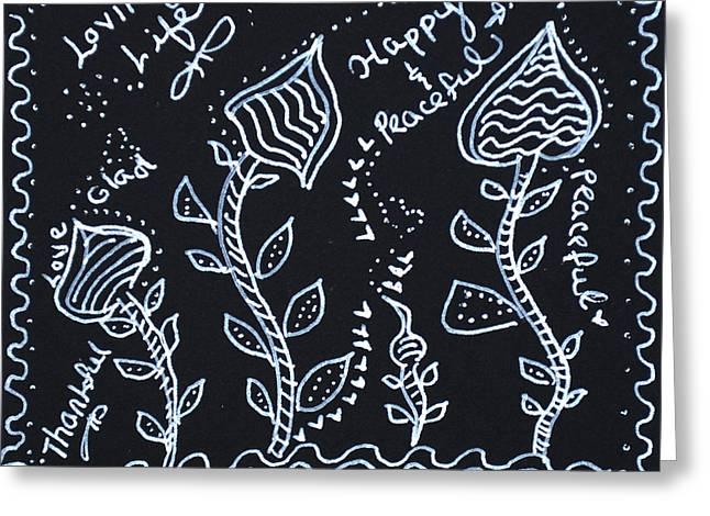 Tangle Flowers Greeting Card