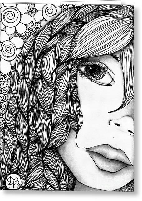 Tangle Lady Greeting Card by Delein Padilla