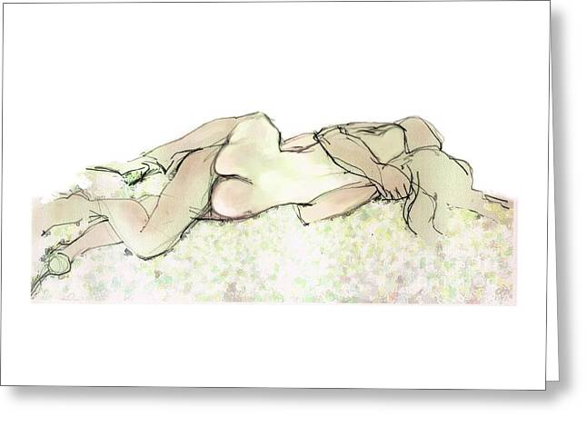 Tangled Together - Couple In An Embrace Greeting Card by Carolyn Weltman