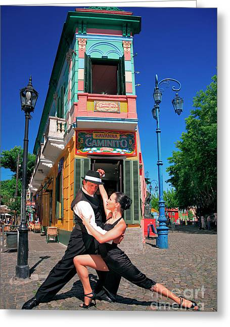 Greeting Card featuring the photograph Tango At Caminito by Bernardo Galmarini