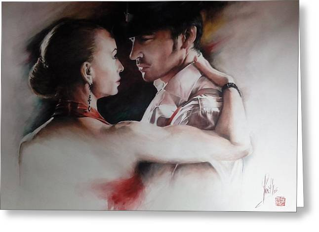 Greeting Card featuring the painting Tango Connection by Alan Kirkland-Roath