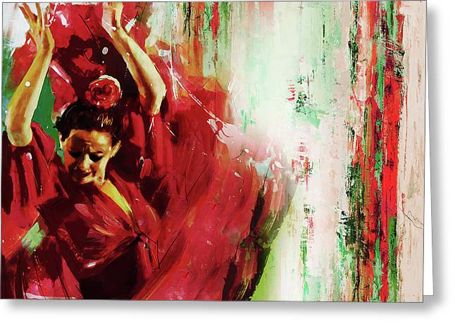 Greeting Card featuring the painting Tango Dance 45g by Gull G