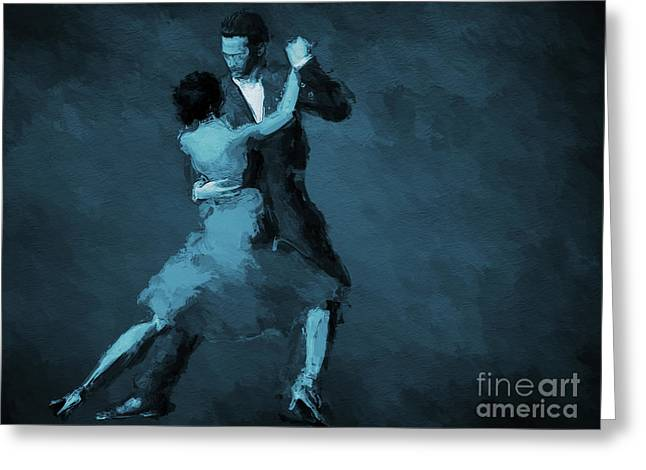 Tango In Blue Greeting Card by John Edwards