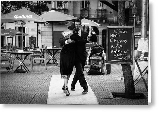 Tango In The Plaza Greeting Card