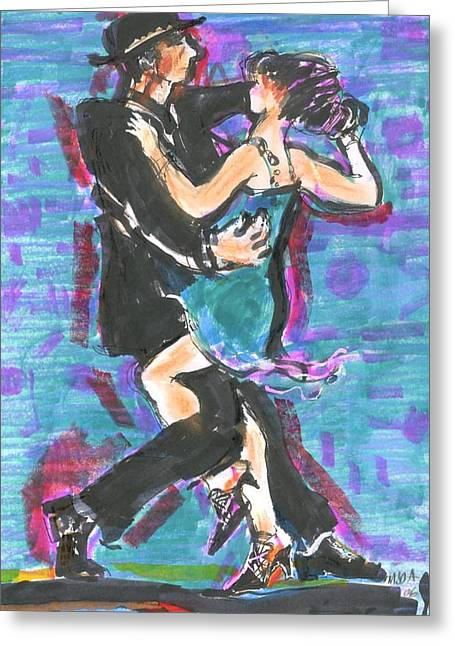 Greeting Card featuring the painting Tango J by Mary Armstrong