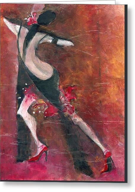 Greeting Card featuring the painting Tango by Maya Manolova