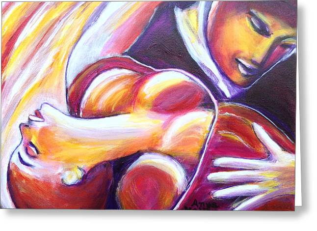 Greeting Card featuring the painting Tango Passion by Anya Heller