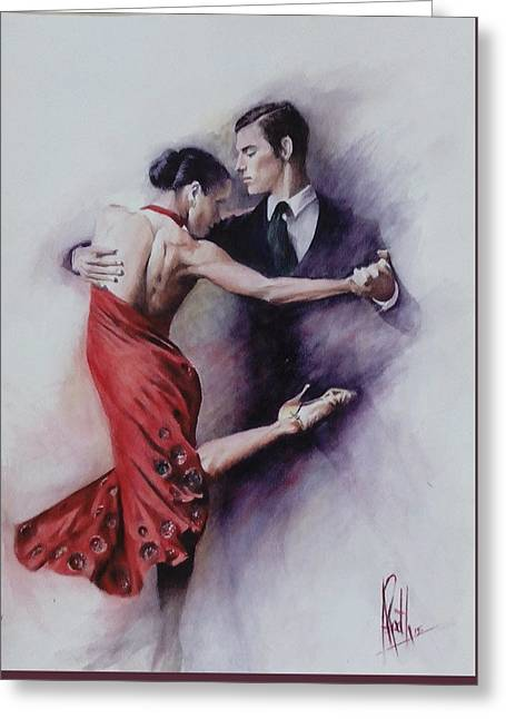Greeting Card featuring the painting Tango Quartet 4/4 by Alan Kirkland-Roath