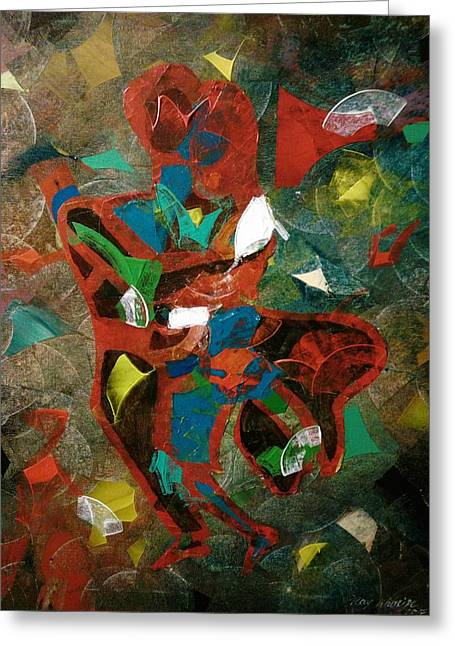 Greeting Card featuring the painting Tango With A Twist by Ray Khalife