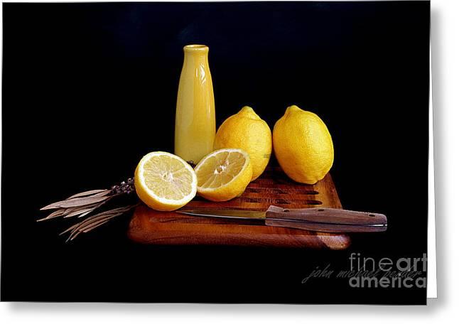 Tangy Lemons Greeting Card by John Michael Pender