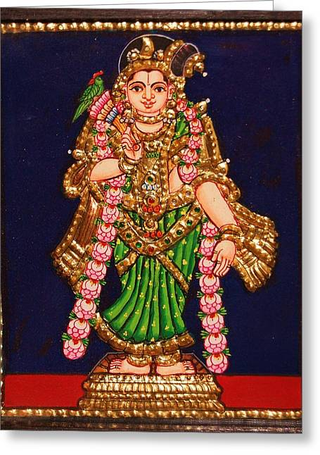 Tanjore Painting - Andal Greeting Card