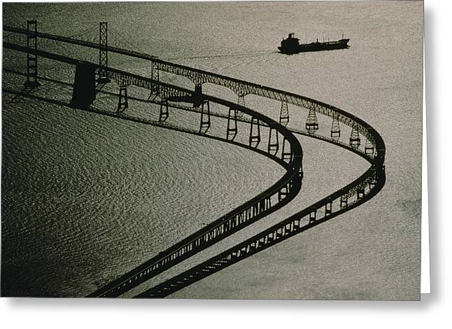 Chesapeake Bay Bridge Greeting Cards - Tanker And Chesapeake Bay Bridge Greeting Card by Skip Brown