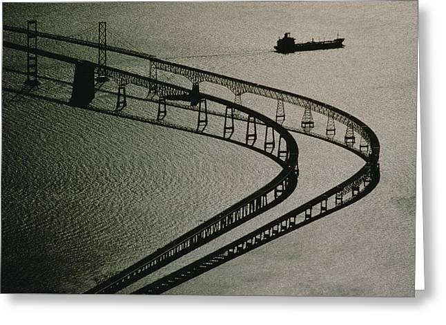 Tanker And Chesapeake Bay Bridge Greeting Card