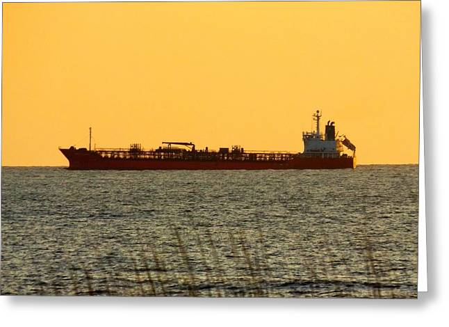 Tanker At Sunrise Greeting Card