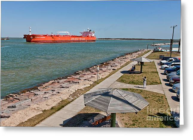 Tanker Transporting Crude Oil Greeting Card by Inga Spence