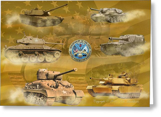 Gallantry Greeting Cards - Tanks four Greeting Card by Ken Frischkorn