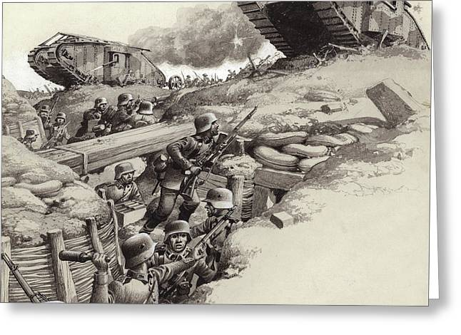 Tanks Roll Over German Trenches During The Great War  Greeting Card by Pat Nicolle