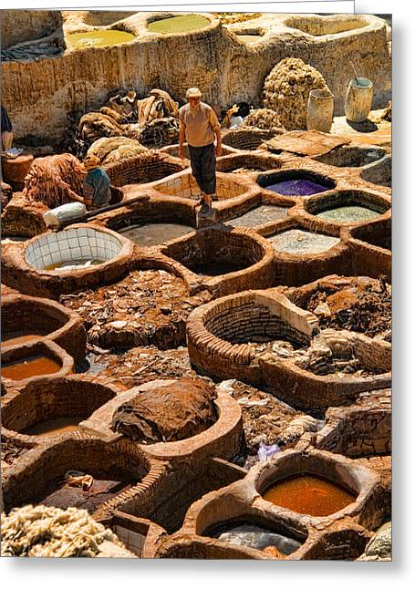 Tanneries Of Ancient Fes Morroco Greeting Card
