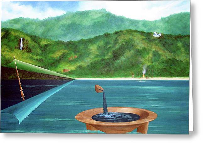 Sharon Ebert Greeting Cards - Tanoa Spear Plane Greeting Card by Sharon Ebert