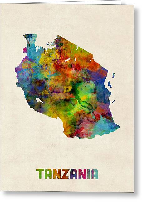 Tanzania Watercolor Map Greeting Card by Michael Tompsett