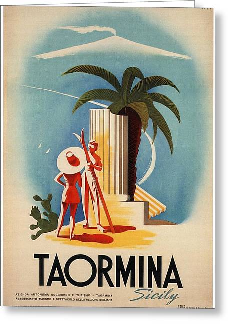 Taormina, Sicily, Italy - Couples - Retro Travel Poster - Vintage Poster Greeting Card