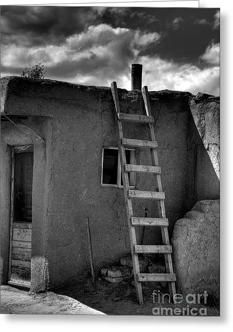 Taos Adobe And Ladder Greeting Card by David Waldrop