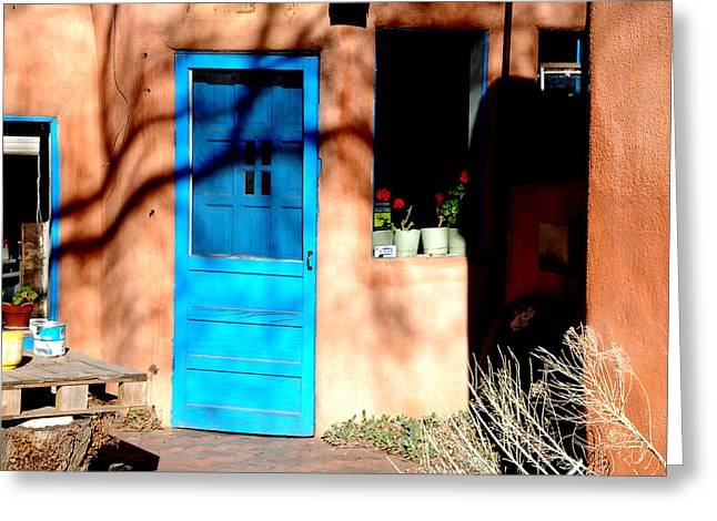 Greeting Card featuring the photograph Taos Blue Door by Kathleen Stephens