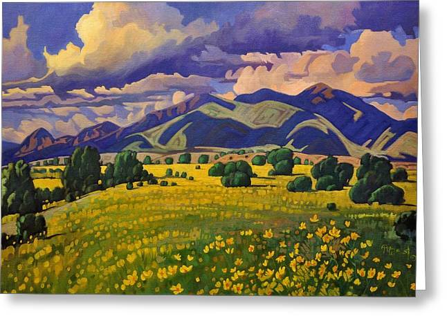 Taos Fields Of Yellow Greeting Card