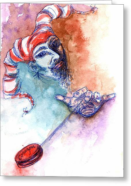 Taos Fool Greeting Card by Ashley Kujan