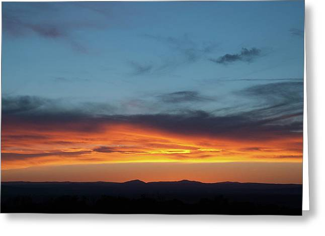 Greeting Card featuring the photograph Taos Mesa Sunset by Jason Coward