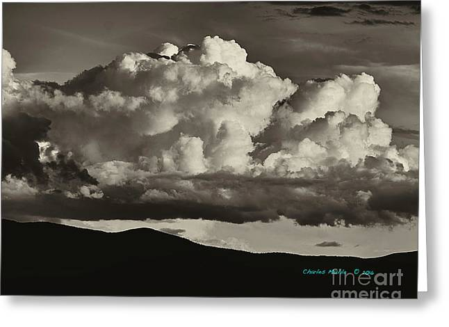 Taos Monsoons In Sepia Greeting Card by Charles Muhle
