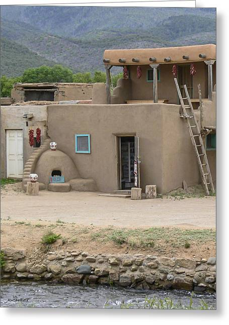 Taos Pueblo Adobe House With Pots Greeting Card