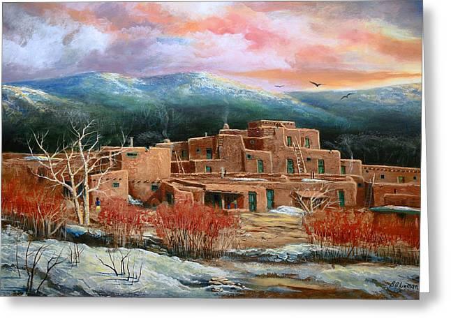 Taos Pueblo Greeting Card by Brooke lyman