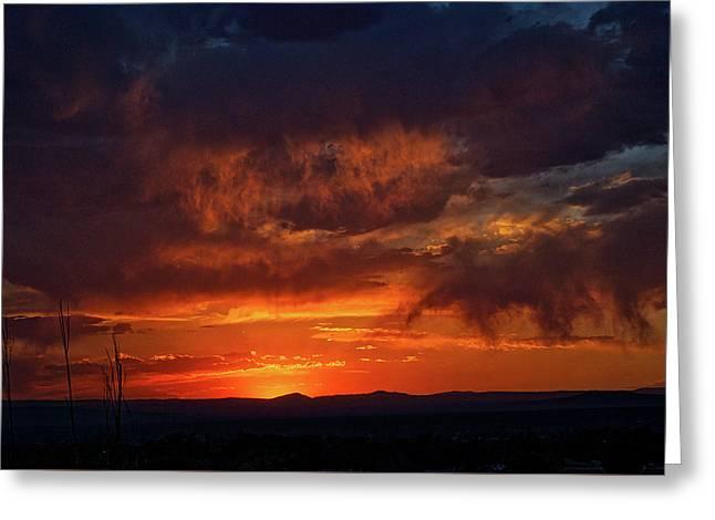 Taos Virga Sunset Greeting Card by Jason Coward